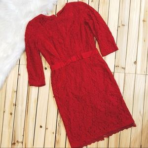 Taylor red lace dress